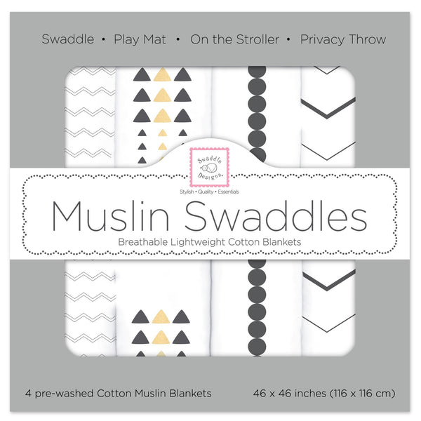 Muslin Swaddle Blankets - Gold and Graphite with Shimmer (Set of 4)