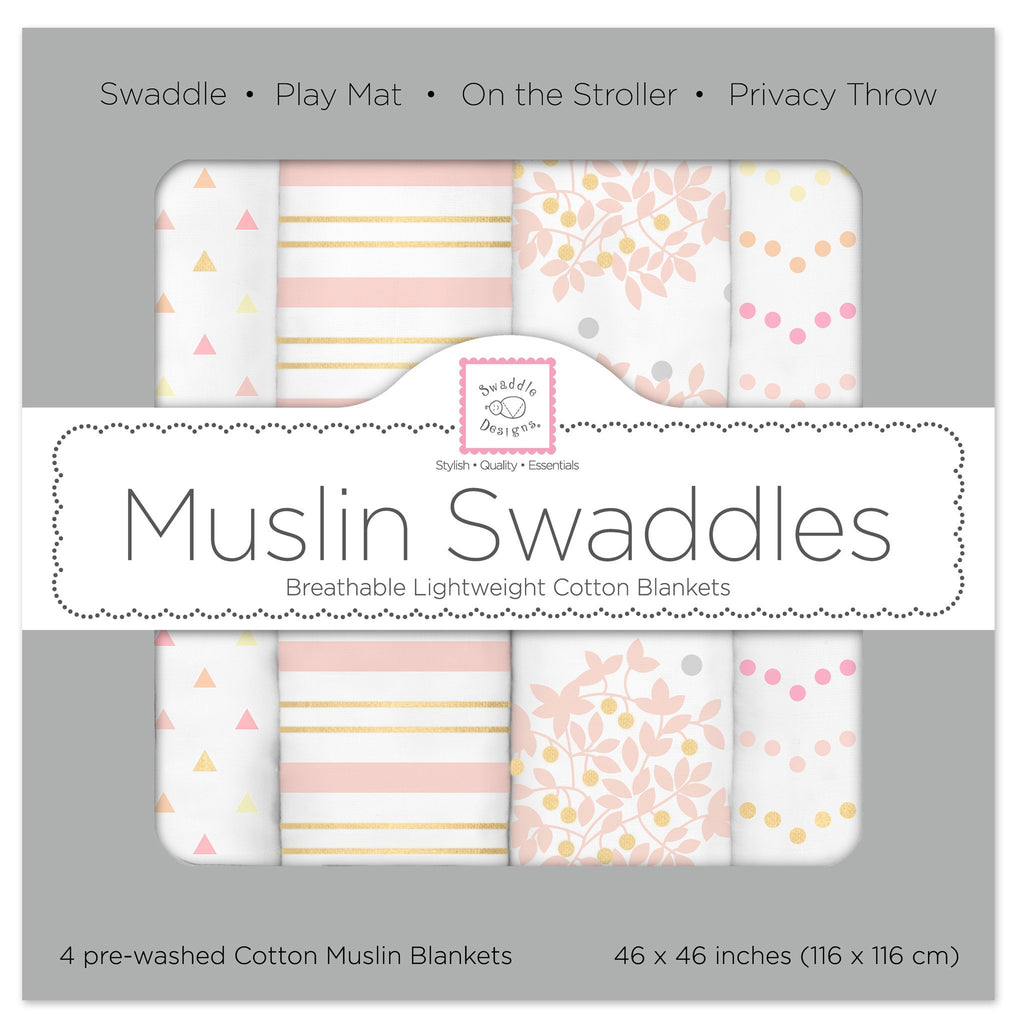Muslin Swaddle Blankets - Heavenly Floral Shimmer (Set of 4)
