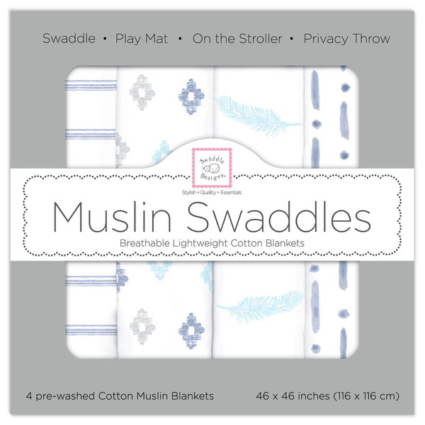 Muslin Swaddle Blankets - Indigo Denim (Set of 4)