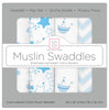 Muslin Swaddle Blankets - Little Ships (Set of 4)