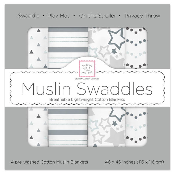 Muslin Swaddle Blankets - Starshine Shimmer (Set of 4)