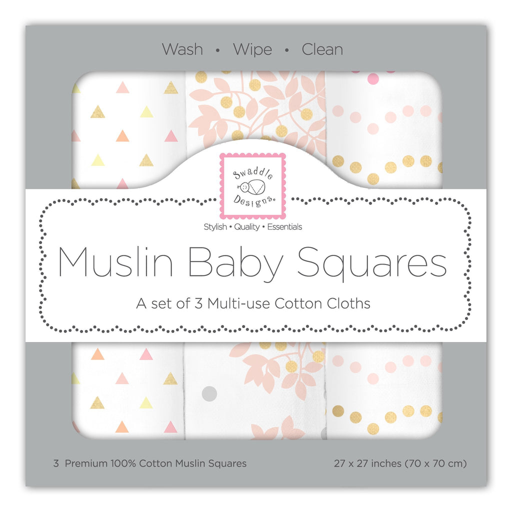 SwaddleDesigns Muslin Baby 3 SQUARES Burp Cloth Wipe Bib Swaddle Designs Pink