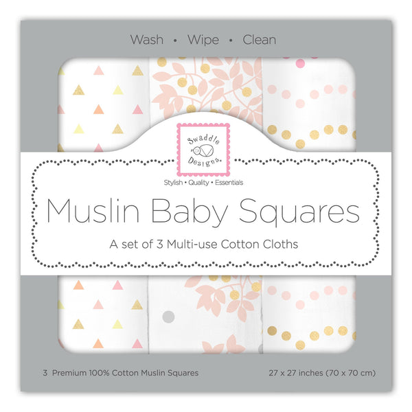 Muslin Squares - Heavenly Floral Shimmer (Set of 3)