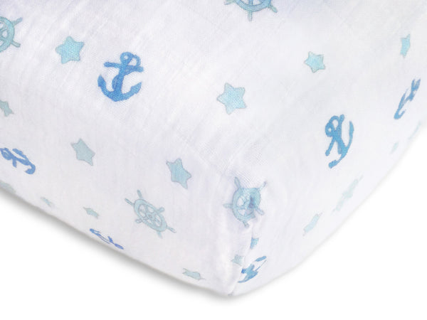 Muslin Fitted Crib Sheet - Ahoy! - Pastel Blue