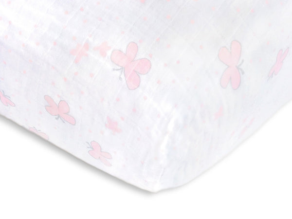 Muslin Fitted Crib Sheet - Butterflies - Pastel Pink