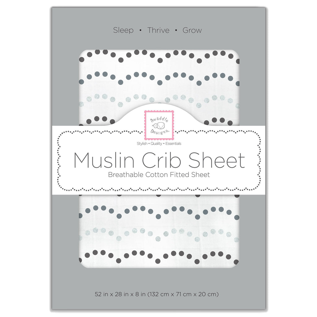 Muslin Fitted Crib Sheet - Tiny Dot Scallop Shimmer