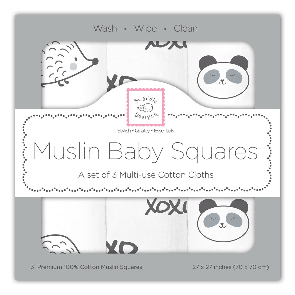 Muslin Squares - Black Hedgehog