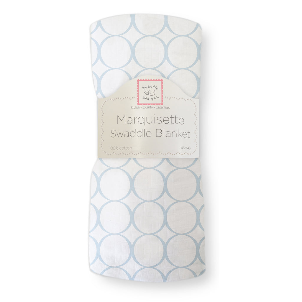 Marquisette Swaddle Blanket - Mod Circles on White