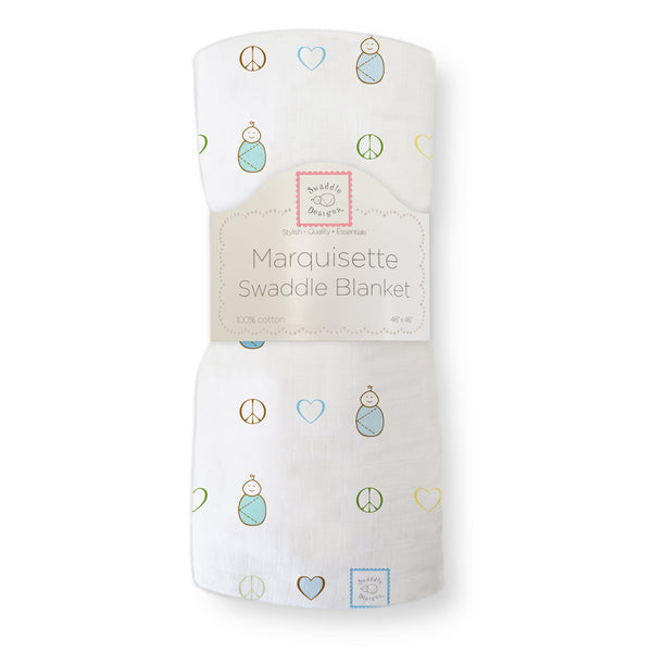Marquisette Swaddle Blanket - Peace. Love. Swaddle