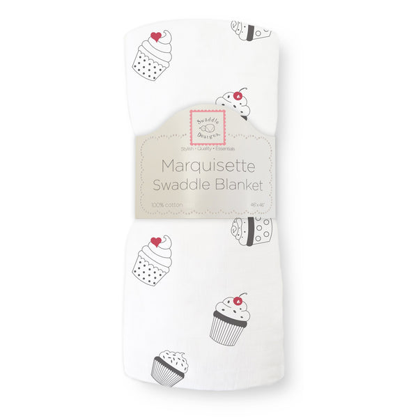 Marquisette Swaddle Blanket - Soft Black & White Cupcakes