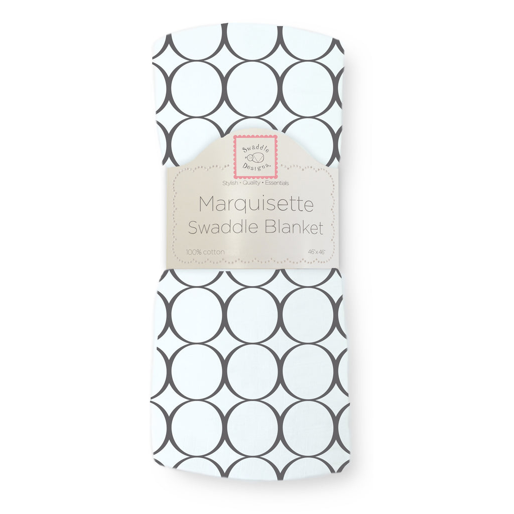 Marquisette Swaddle Blanket - Soft Black Mod Circles