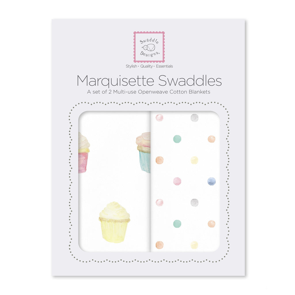 Marquisette Swaddle Blankets - Watercolor Cupcakes & Mini Multi-Dots