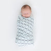 Marquisette Swaddle Blanket - Soft Black Mod Circles, Soft Blue