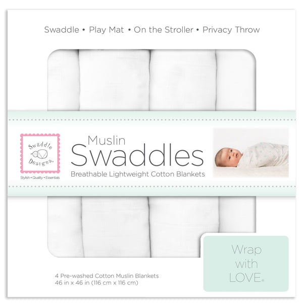 Muslin Swaddle Blankets - Pure White Muslin (Set of 4)
