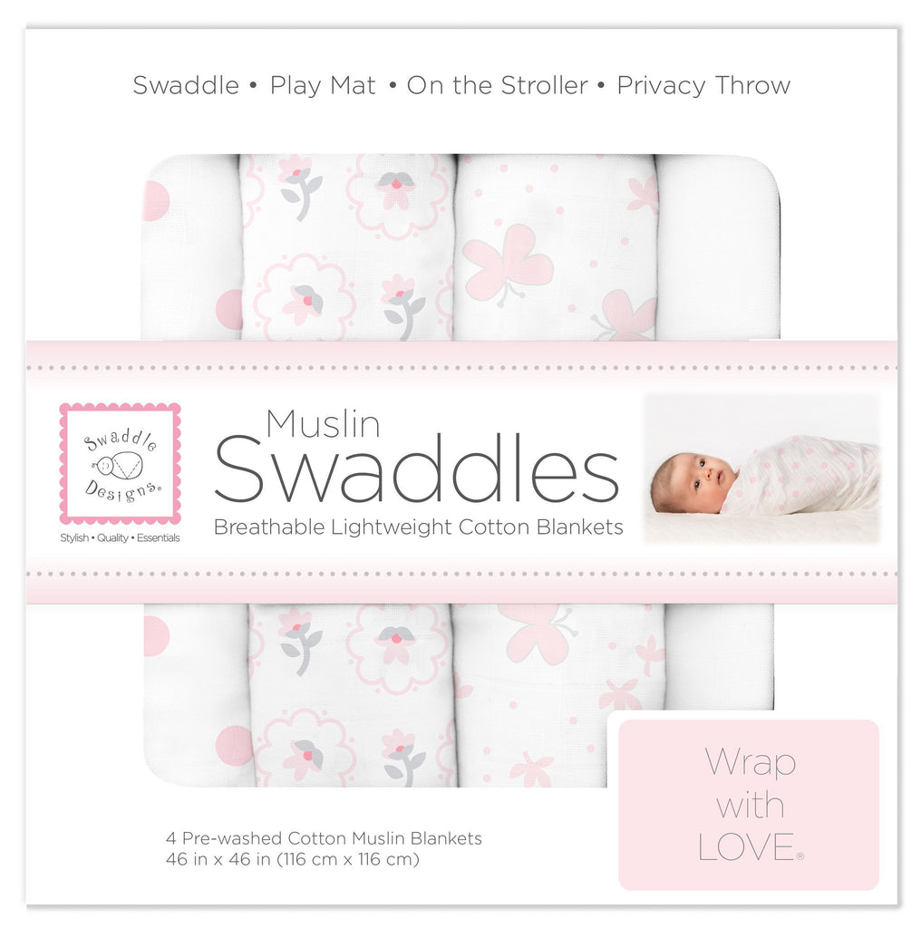 Muslin Swaddle Blankets - Butterflies and Posies (Set of 4)