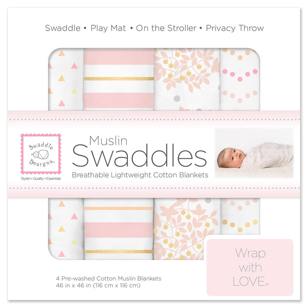Muslin Swaddle Blankets - Heavenly Floral with Shimmer (Set of 4)