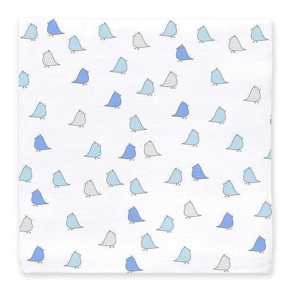 Muslin Swaddle Single - Little Chickies-Blue