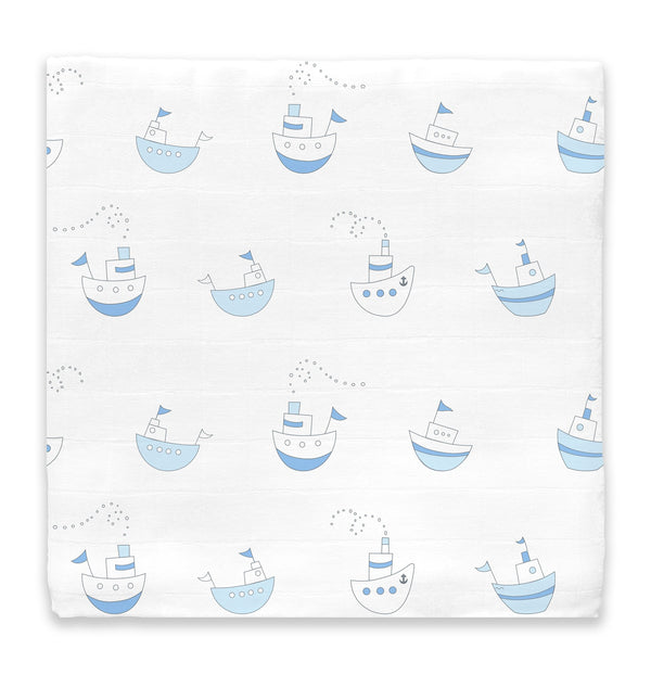 Muslin Swaddle Single - Little Ships