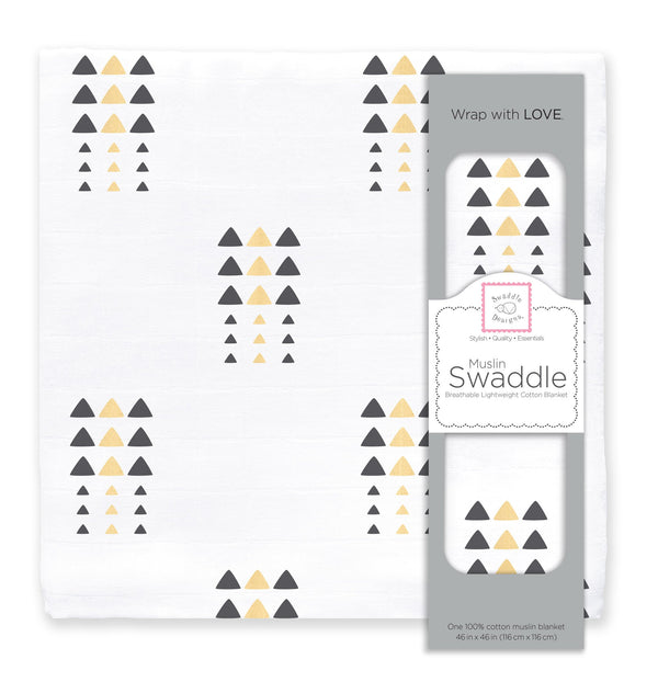 Muslin Swaddle Single - Triangle Trees