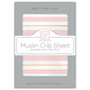 Muslin Fitted Crib Sheet - Stripes Shimmer, Pink