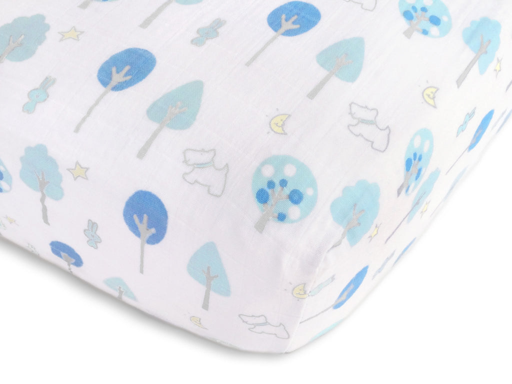 Muslin Fitted Crib Sheet - Blue Forest