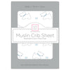 Muslin Fitted Crib Sheet - Doggie + Starball, Pastel Blue