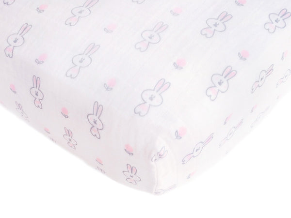 Muslin Fitted Crib Sheet - Bunnie + Geo Floral
