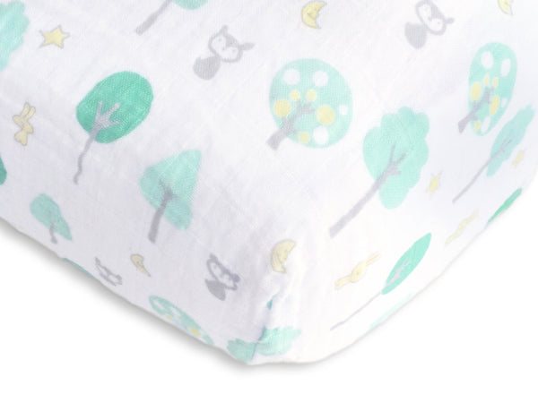 Muslin Fitted Crib Sheet - Green Woodland