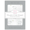 Muslin Fitted Crib Sheet - Little Lambs, Sterling