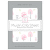 Muslin Fitted Crib Sheet - Pink Thicket