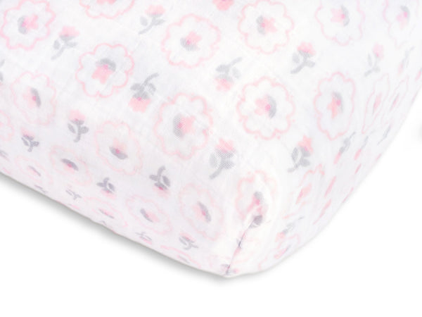 Muslin Fitted Crib Sheet - Posies - Pastel Pink