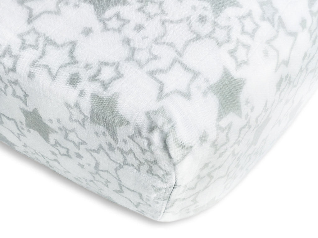 Muslin Fitted Crib Sheet - Starshine - Sterling
