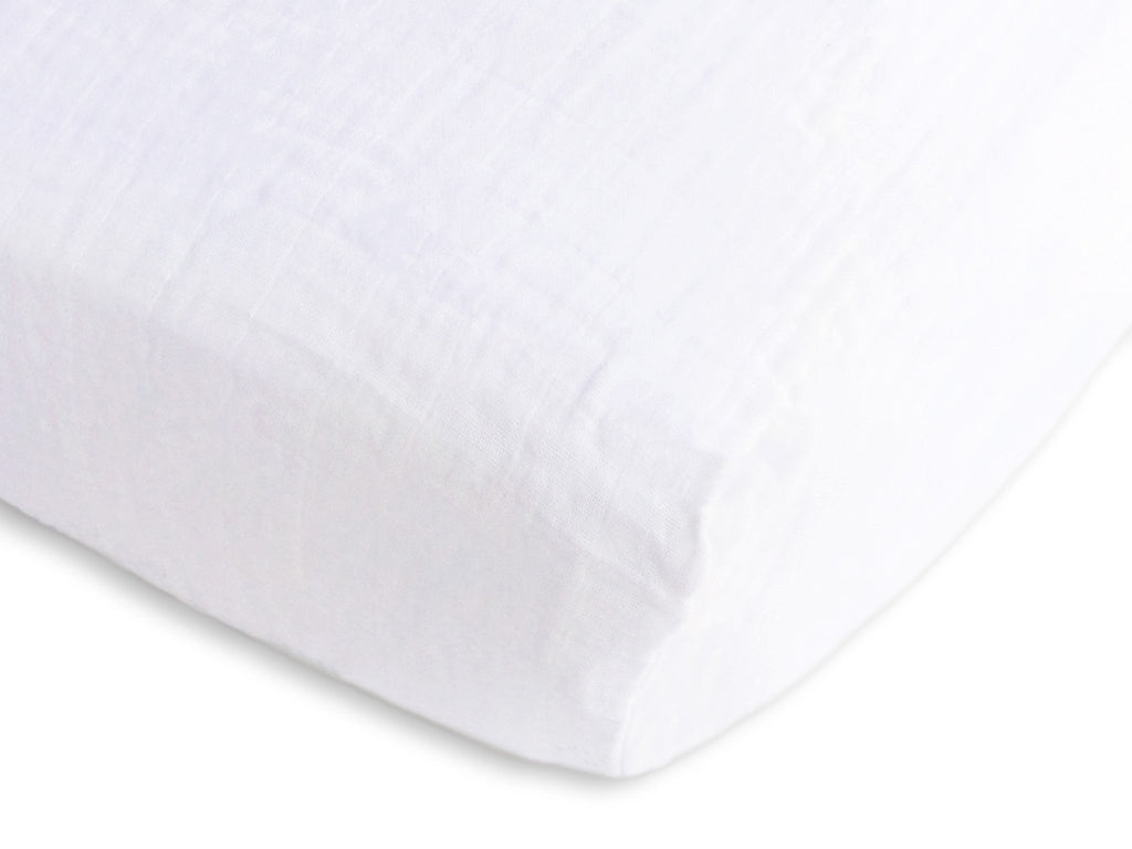 Muslin Fitted Crib Sheet - Pure White Muslin Fitted Crib Sheet