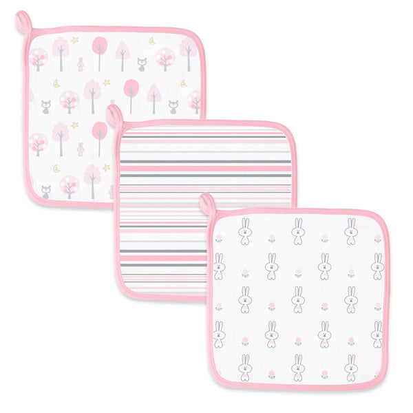 Muslin Washcloths - Woodland Fun (Set of 3)