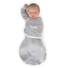 Omni Swaddle Sack with Wrap -  Arms Up Sleeves & Mitten Cuffs, Solid, Heathered Gray with Polka Dot Trim