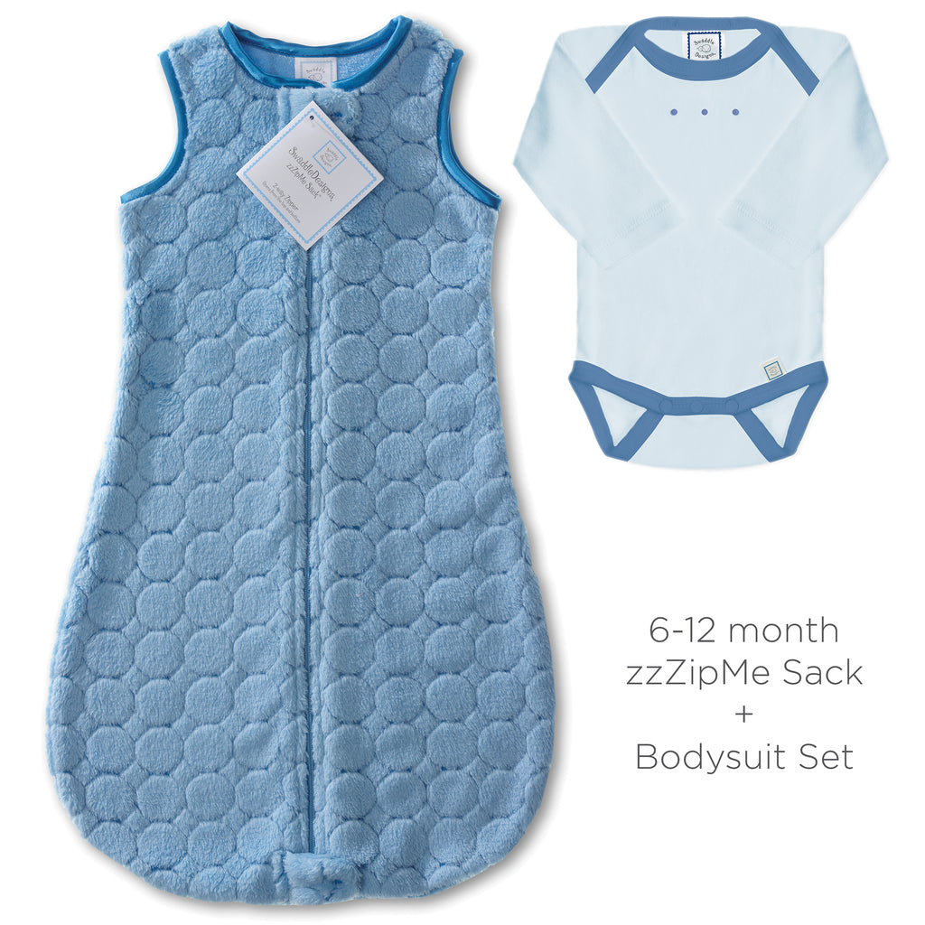 Cozy Puff zzZipMe Sack + Jewel Tone Body Suit, Blue