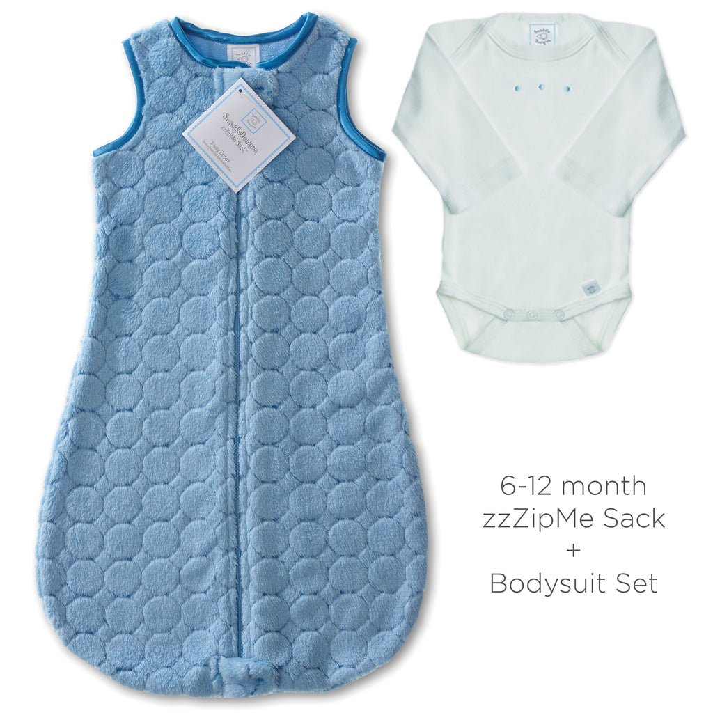 Cozy Puff zzZipMe Sack + Pastel Body Suit, Blue