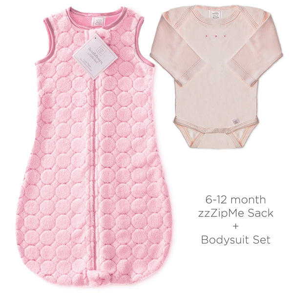 Cozy Puff zzZipMe Sack + Pastel Body Suit, Pink