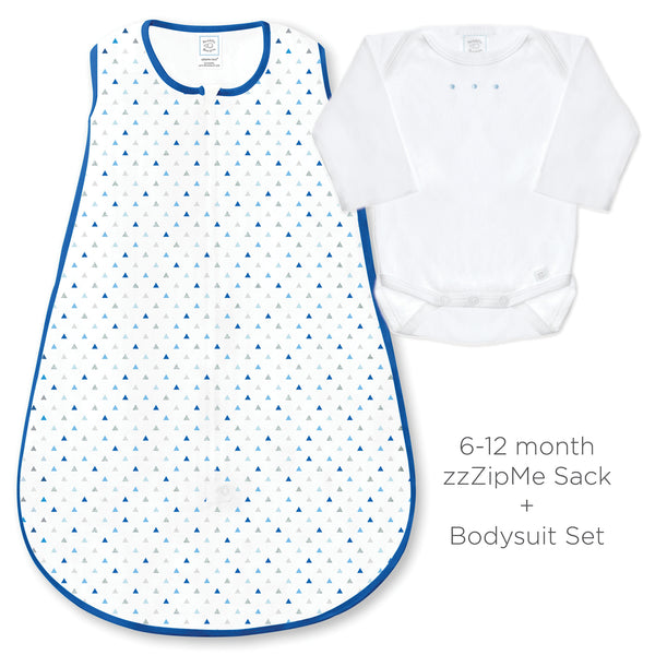 Cotton Knit zzZipMe Sack Set - Tiny Triangles Shimmer, Blue