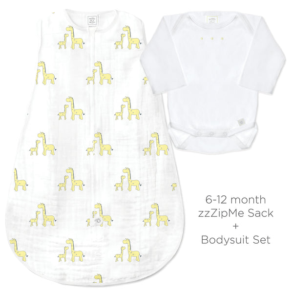 Muslin zzZipMe Sack Set - Mama and Baby Giraffe, Yellow