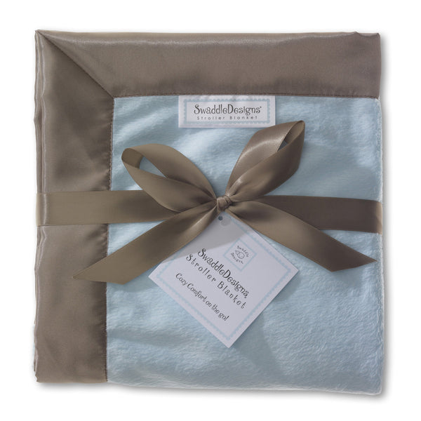 Stroller Blanket - Baby Velvet Taupe Gray, Pastel Blue, Large, 30x40 inches - Customized