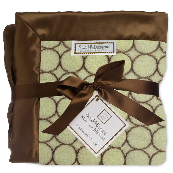 Stroller Blanket - Brown Mod Circles, Lime, Large, 30x40 inches