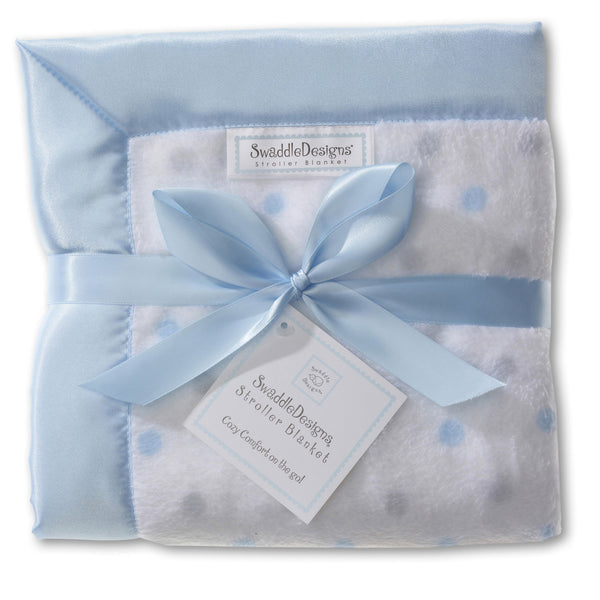 Stroller Blanket - Pastel & Sterling Dots, Pastel Blue, Large, 30x40 inches - Customized
