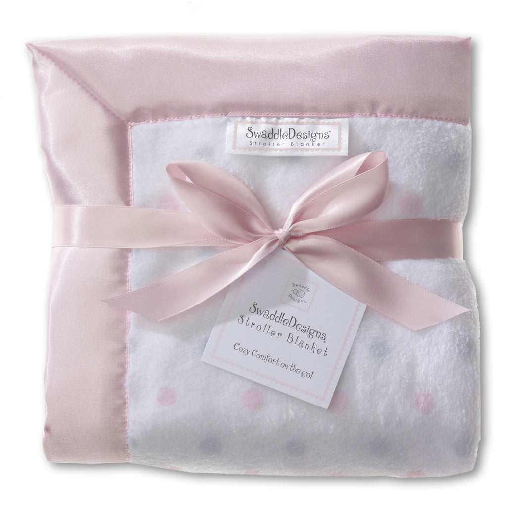 Stroller Blanket - Pastel & Sterling Dots, Pastel Pink, Large, 30x40 inches - Customized