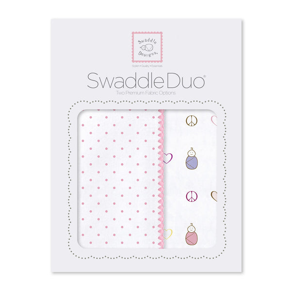 SwaddleDuo - Classic Peace. Love. Swaddle