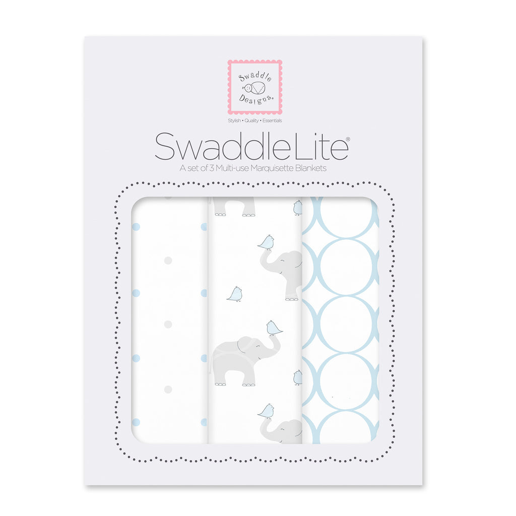 SwaddleLite - Elephant & Chickies, Pastel Blue