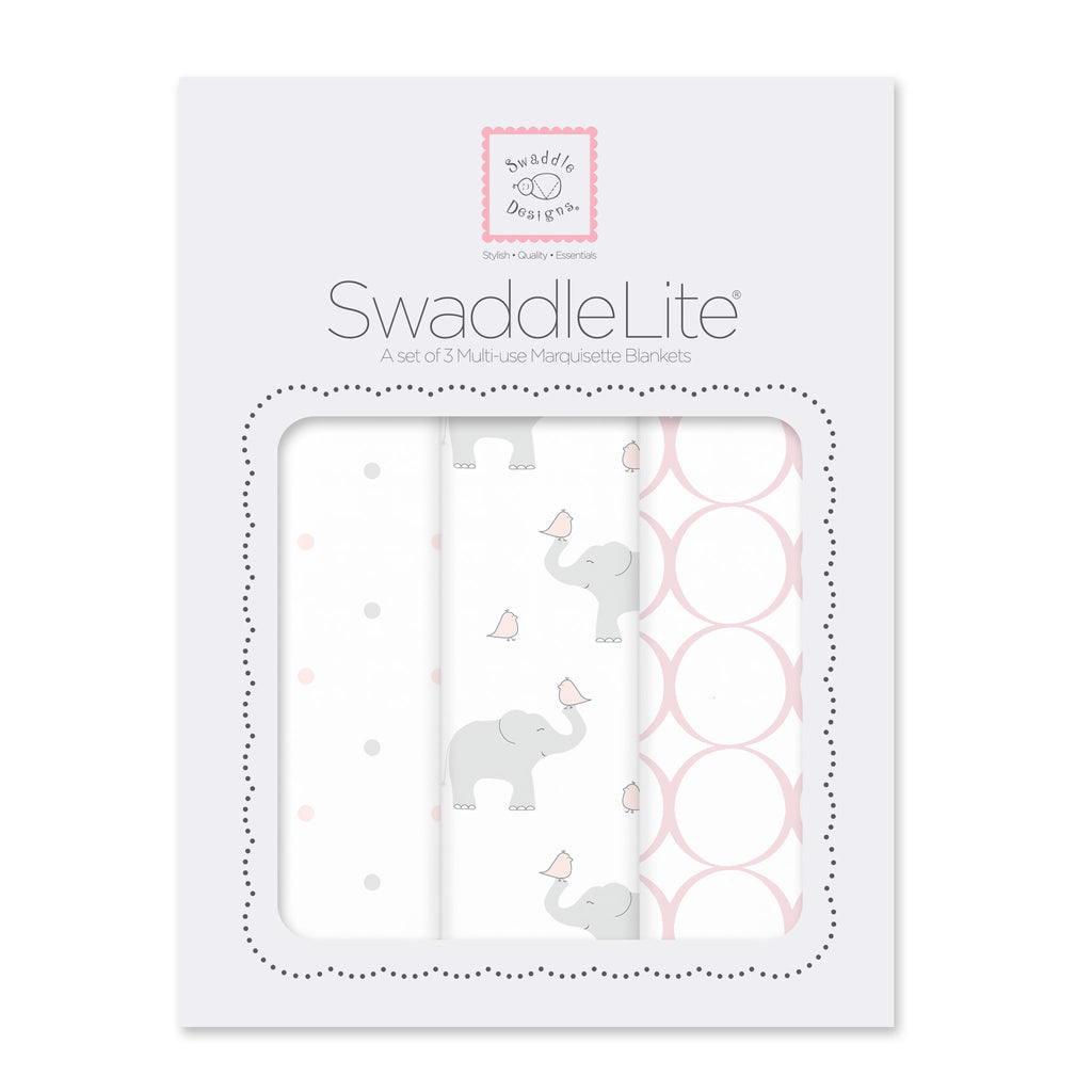 SwaddleLite - Elephant & Chickies, Pastel Pink