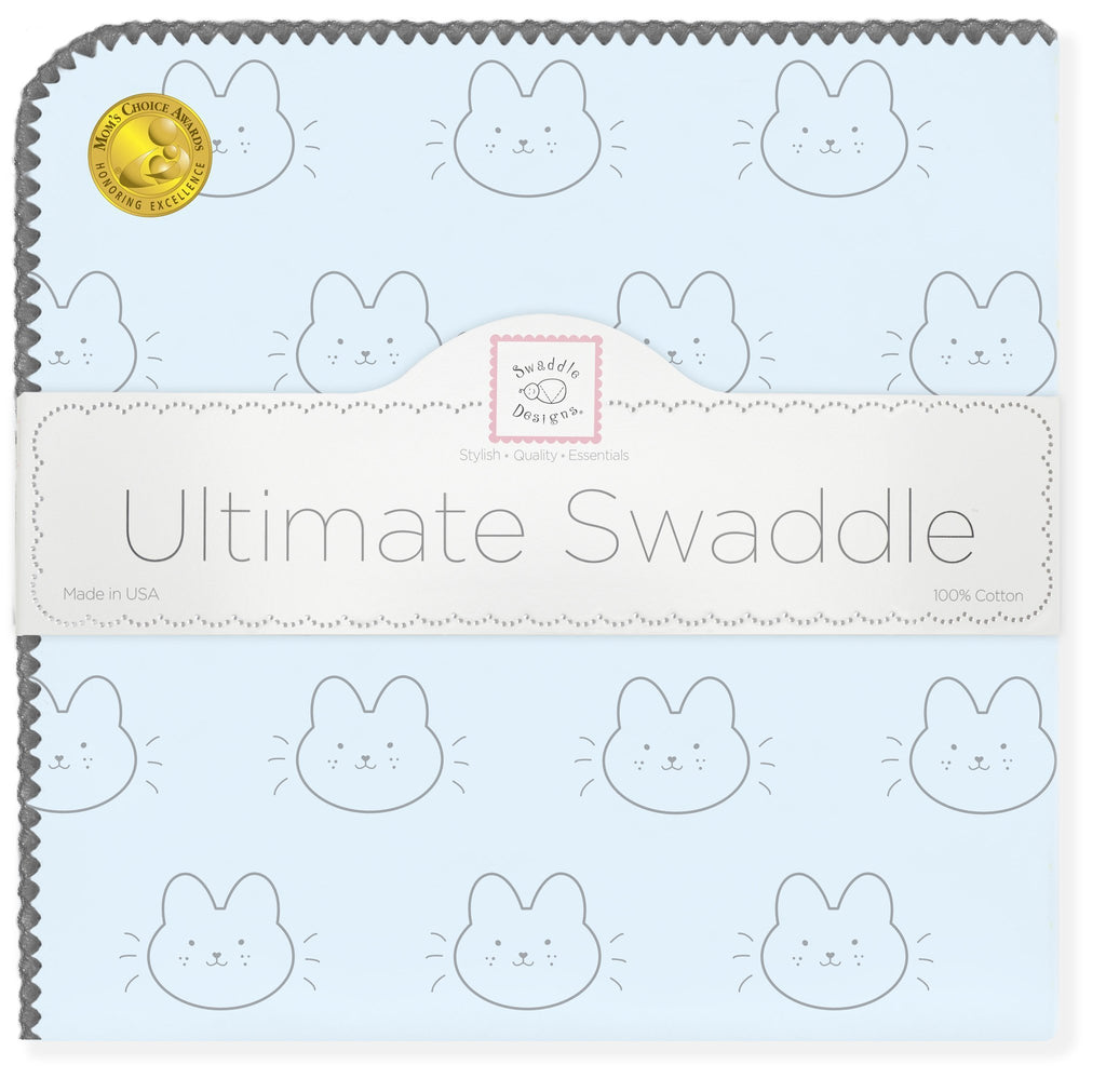 Ultimate Swaddle Blanket - Baby Bunny, Pastel Blue - Customized