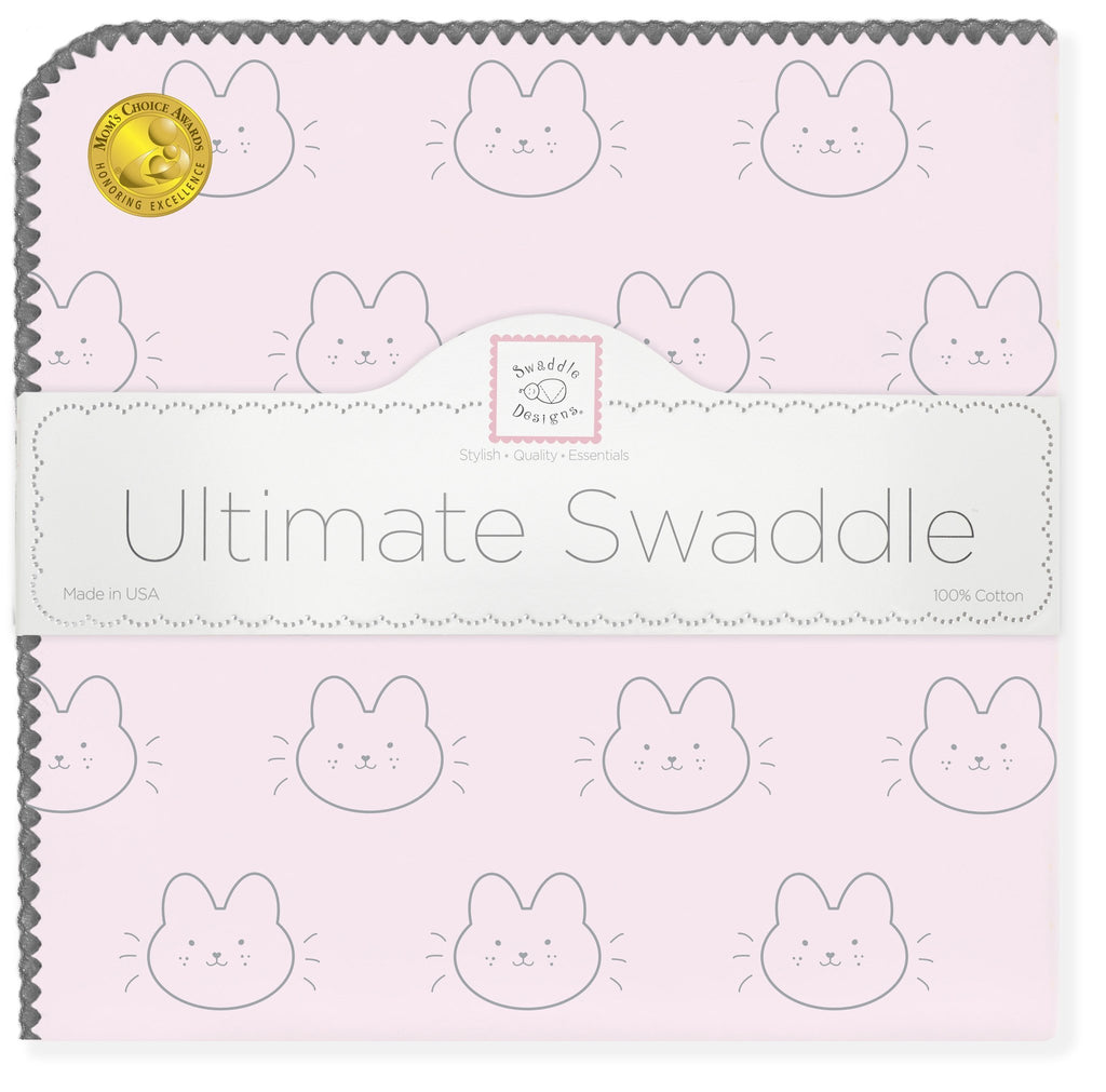 Ultimate Swaddle Blanket - Baby Bunny, Pastel Pink - Customized