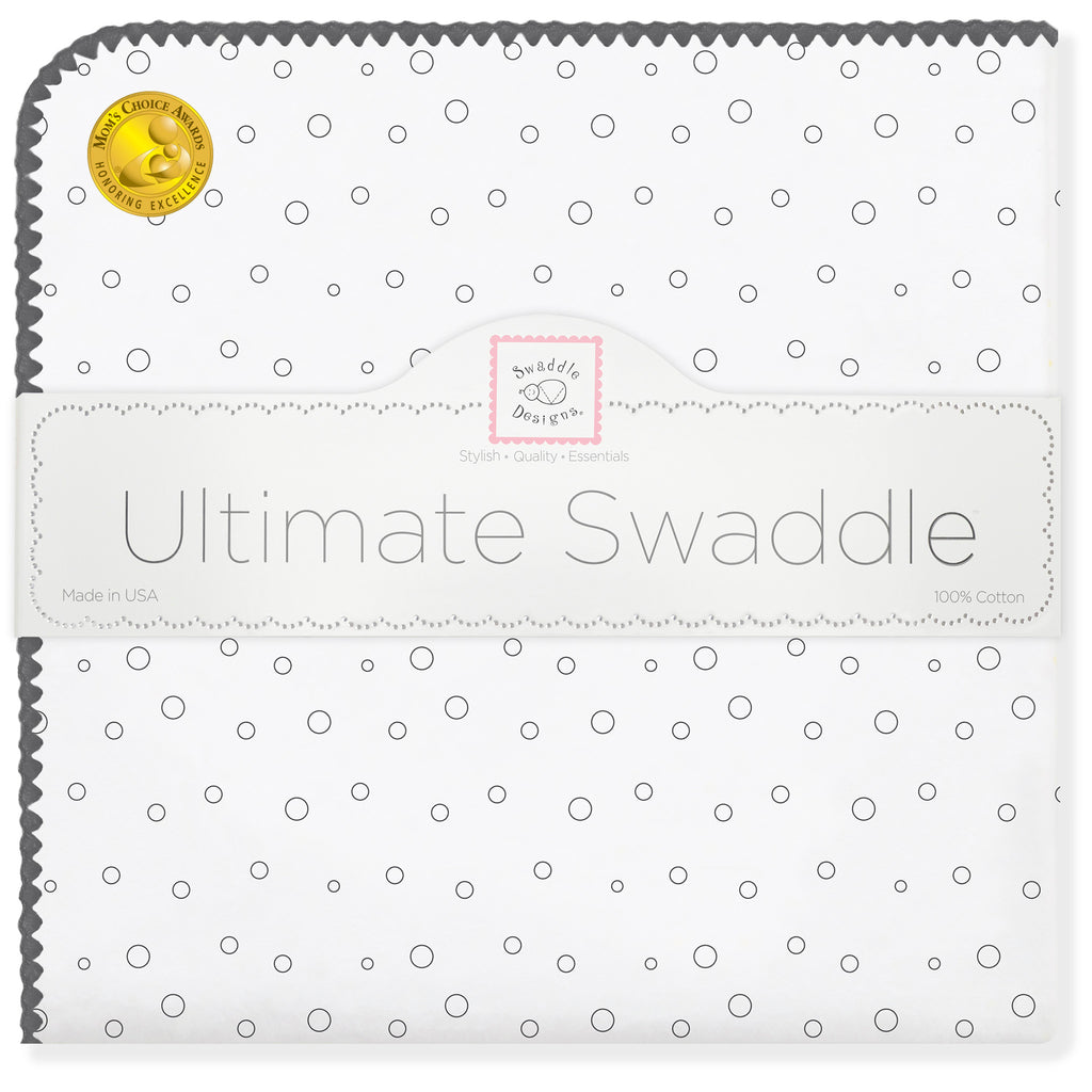 Ultimate Swaddle Blanket - Soft Black Bubble Dots, Soft Black